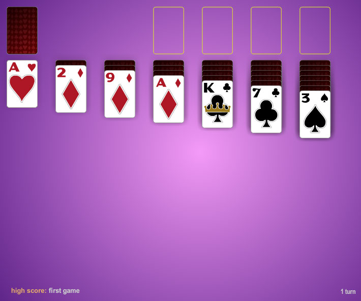 Click to view One Card Three Pass Klondike Solitaire 1.0 screenshot